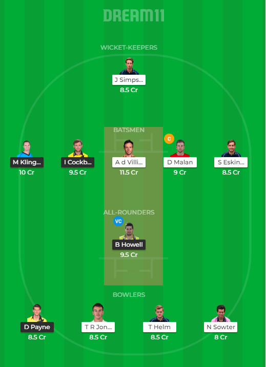 GLO vs MID Dream11 Team