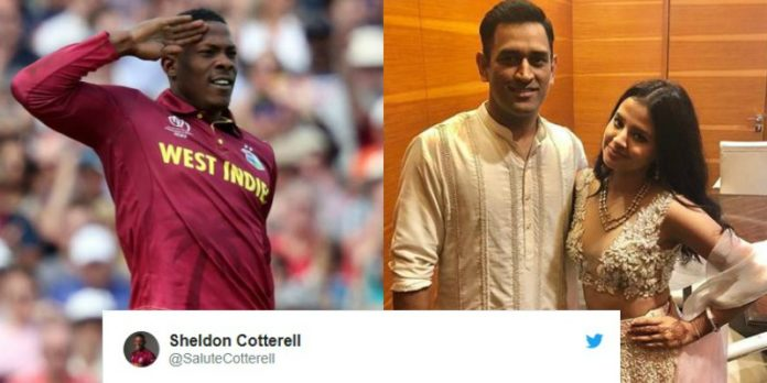 Sheldon Cottrell and MS Dhoni Photo